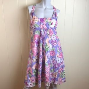 Alfred Angelo Purple Halter Dress w/ Floral Print